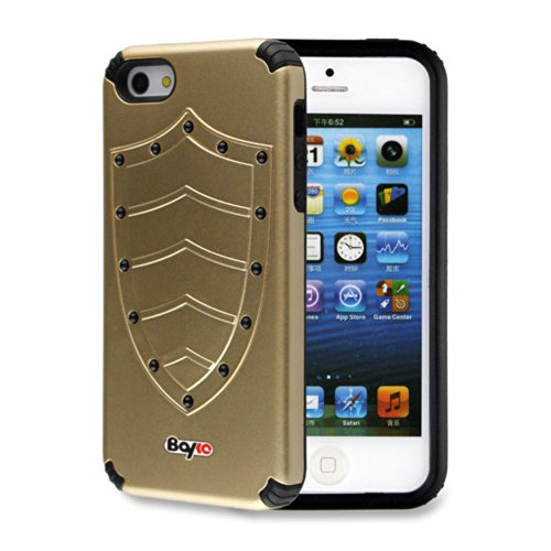 Bayke Brand / Apple Iphone 5 & Iphone 5S 2-Piec Dual Layer Design Impact Resistant Bumper Prime Extreme Protection Hybrid Heavy Duty Protective Slim Armor Defender Case Without Built-In Screen Protector (Golden Shield Design)