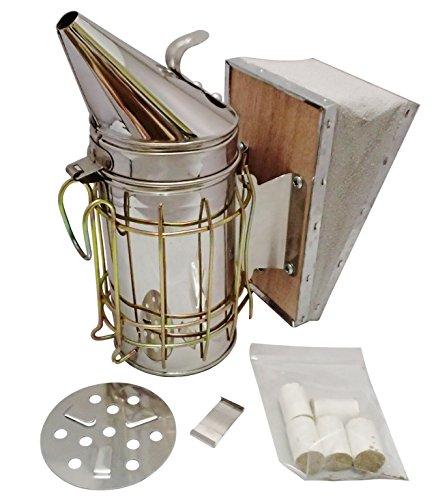 養蜂の必需品。  蜜蜂用 燻煙器 (くんえんき)  オリジナル 薫煙材 付き  / 亜鉛 / めっき製 (薫煙材 付き)