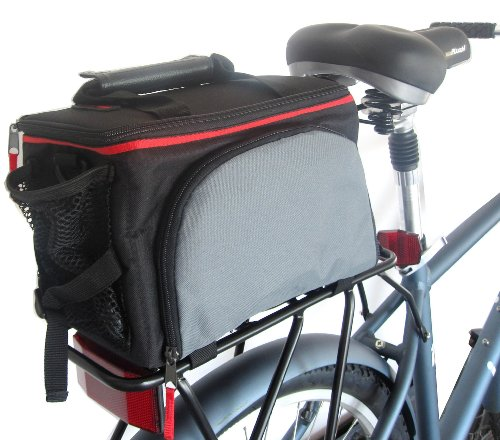 Rear Rack Bag with retractable side panniers and rain cover , bicycle rack bag by Biria - Mezano