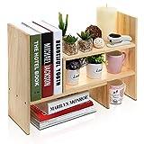 Adjustable Natural Wood Desktop Storage Organizer Display Shelf Rack, Counter Top Bookcase, Beige