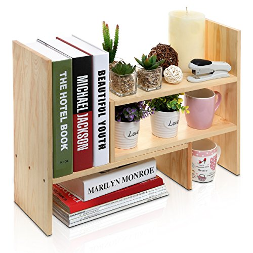 Adjustable Natural Wood Desktop Storage Organizer Display Shelf Rack, Counter Top Bookcase, Beige (Natural Wood Shelf compare prices)