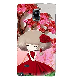 PrintDhaba Cute Girl D-4684 Back Case Cover for SAMSUNG GALAXY NOTE 2 (Multi-Coloured)