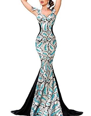 Cfanny Women's Sequin Embellishment Mermaid Evening Gown Dress