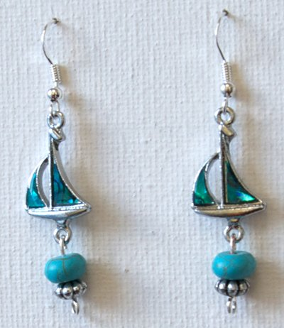 Sailboat Earrings Sterling Silver Abalone Shell Earrings Sea Jewelry Gifts for Girls