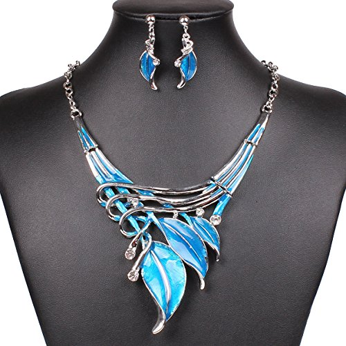sdlm-womens-silver-tone-elegant-leaf-art-collar-bib-cz-necklace-and-earring-jewelry-setb