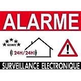 """Panneau de dissuasion """"alarme surveillance électronique"""" 300x200mm"""