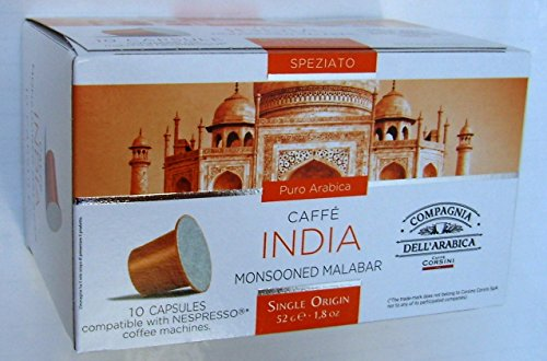 Find Nespresso Compatible Capsules SINGLE ORIGIN Compagnia dell'Arabica - INDIA MONSOONED MALABAR - 10 caps / box (TOTAL: 30 caps) by Compagnia dell'Arabica - a Caffe Corsini S.p.A. company Group