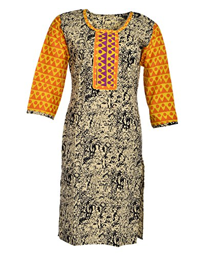 Global Women's Cotton Straight Kurta (GW60Beige42015, Beige, 42)