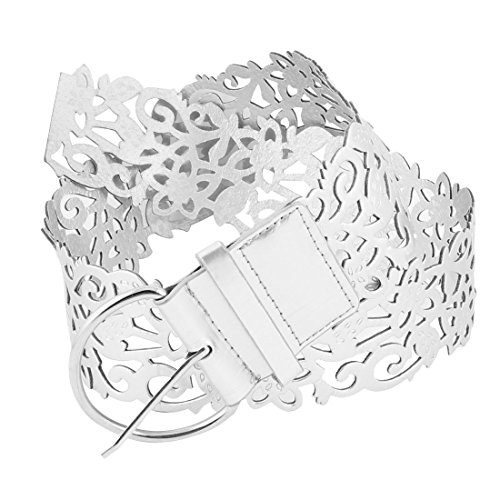Ladies Faux Leather Hollow Out Flower D Shape Buckle Waist Belt