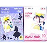 Fujifilm Instax Mini Instant Film 10 Sheets × 2 Packs (Disney Alice in Wonderland & Pink Dot) [Komainu-Dou Original Packege]