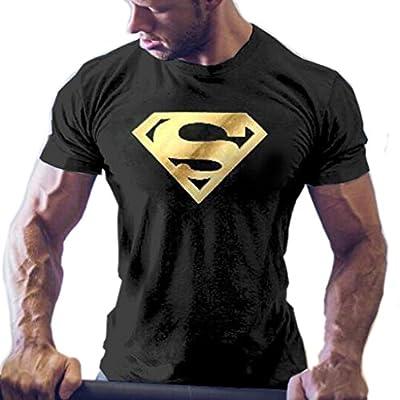 Men's Superman T-Shirts Bodybuilding Muscle Training Short Sleeve