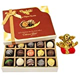 Chocholik Belgium Chocolates - Sweet Treat Of 20pc Truffle Box With Small Ganesha Idol - Diwali Gifts