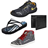 Earton Men Combo Pack Of 4 Sports Shoe With Casual Shoe & Wallet, Slipper - B01N1T1VRC