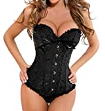 Injoy Sexy Women's Lace up Back Floral Corset Set Underwear Buster