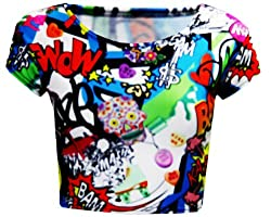 R22 Women Cartoon,graffiti Print Suit Ladies Crop Top Skirt