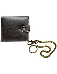 Apki Needs Fashionable Brown Men's Wallet & Golden Chain Keychain Combo