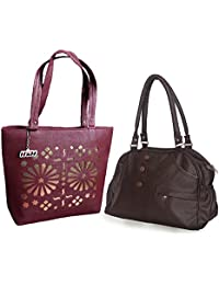 Arc HnH Women HandBag Combo - Elegant Dark Brown + Blossom Maroon