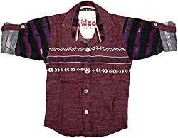 CAY 100% Cotton Maroon Color Button Down Shirt (Size:S)