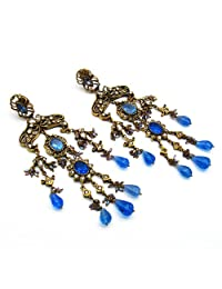 57.40 Grams White Cubic Zirconia & Blue Glass Gold Plated Brass Victorian Earrings