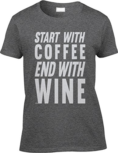 Blittzen Womens/Ladies Start With Coffee End With Wine, L, Dark Heather (Heather Coffee Cup compare prices)