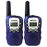 Retevis RT-388 UHF 462.5625-467.7250MHz 22CH Kids Walkie Talkie LCD Display Flashlight VOX Toy 2 Way Radio For Children 1 Pair Blue
