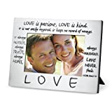 Love Classic Metal Photo Frame With Engraved Title And Scripture Love Is Patient