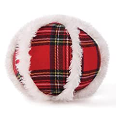 Zanies Snow Cap Dog Tartan Ball Toy