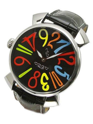 COGU(コグ)コジモグッチ ジャンピングアワー(クレイジーアワー) 機械式腕時計(革ベルト・黒・カラー文字盤/男性用)JH6-BCL