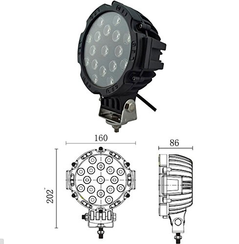 Suparee 51W High Intensity Cree Leds Work Lamp 60 Degree Beam Super Bright Leds Lamps Trailer Truck Car Auto
