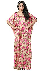 Justkartit Women's Golden & Pink Colour Floral Style Colourful Ankle Length Kaftan / Latest Night Wear Kaftan Design 2017 / Honeymoon Dresses Collection