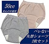女性用 失禁パンツ 2枚セット かわいい ドット柄 安心 日本製 50cc吸水 軽中量対応 ちょい漏れ 残尿対策 (M, ベージュ&グレー)