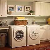 Vrifier-votre-poches-Sticker-mural-en-vinyle-pour-chambre--linge-Machine--laver-d---cor-Vinyle-noir-8h-x13w