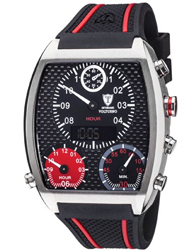 Detomaso Men's Quartz Watch VOLTURNO Silver/Black Silicon Trend DT2057-A with Rubber Strap