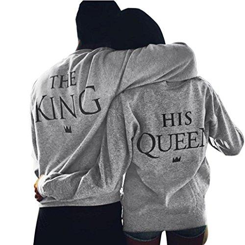 Amante Men KING & Women Queen manica lunga T-shirt, Sharondar Grigio Stampa camicetta superiore Coppia camicia (S, Donne QUEEN)