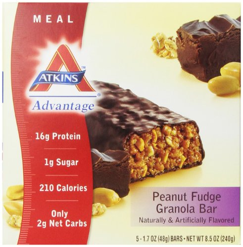 Atkins Advantage Peanut Fudge Granola Meal Bar, 5 Count Bars, 8.5 oz (637480045087)