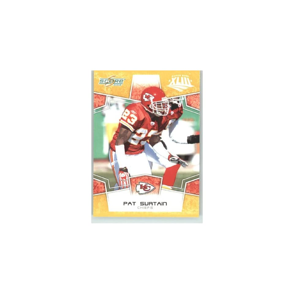 2008 Donruss / Score Limited Edition Super Bowl XLIII Gold Border # 157 Pat Surtain   Kansas City Chiefs   NFL Trading Card in a Prorective Screw Down Display Case