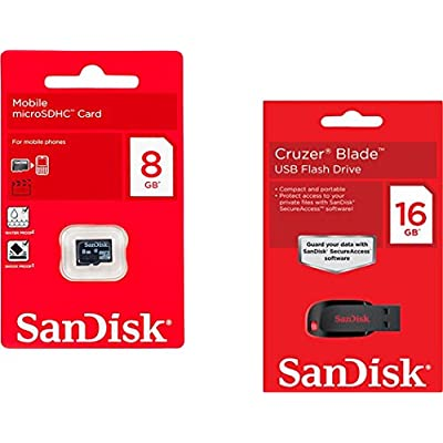 SanDisk Combo of 16 GB Pendrive and 8 GB Micro SD Card (Class 4)