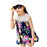 Weixinbuy Kids Baby Girl's Floral Hollow Lace Printed Beach Sundress