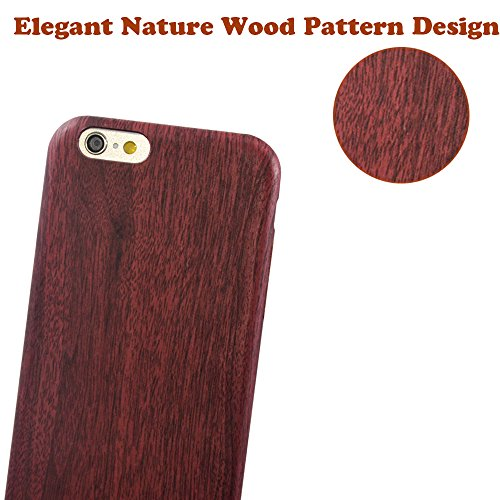 iPhone 6s/6 Case,LoTus Classic Cool Vintage Nture PU Wood Pattern Design Durable TPU Protective Shell Cover for iPhone 6s/6 -Featured with Soft Microfiber Inner-with small Gift-Deep Red