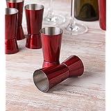 King International Stainless Steel Red Coloured Jigger Set - 30ML & 60ML Set Of 6