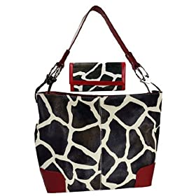 Red Giraffe Print Handbag Faux Leather Satchel Bag Hand Shoulder Bag Animal Purse Square Tote w/ Matching Wallet