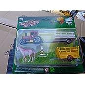 Die Cast Metal Farm Tractor Play Set With 10 Farm Animals 14 Pcs Play Set