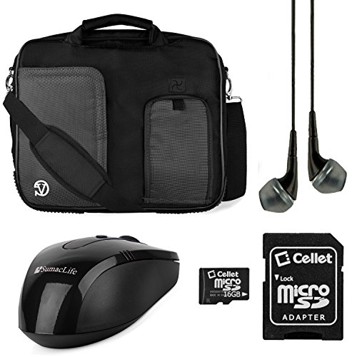 Vg Pindar Messenger Carrying Bag For Asus Chromebook C300 13.3-Inch Laptops (Black) + Black Wireless Usb Mouse + Black Vg Headphones + 16Gb Memory Card