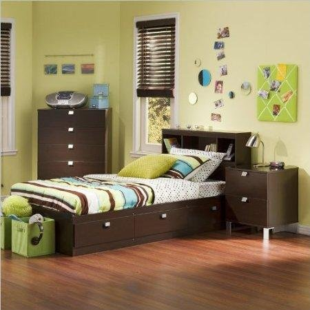 Cheap South Shore Cakao Kids Twin 3 Piece Bedroom Set with Bookcase Headboard in Chocolate (3259080-3PKG)