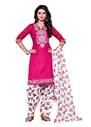 SayShopp Fashion Women's Unstitched Regular Wear Cotton Printed Salwar Suit Dress Material (ZDM-21_Pink,White_Free Size)