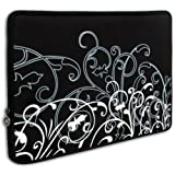 "Mygift Black And White Fleur Carrying Case Sleeve Fit Apple Macbook 13"" And 13 - 14 Inch Notebook Laptop Computer..."