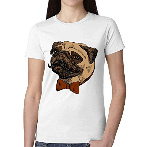 Firebo Do You Like My Pugstache Original Fit Crew-Neck Tee-Shirt For Women White