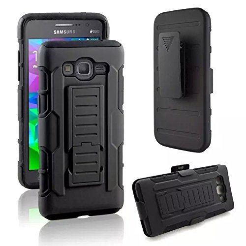 For Galaxy E5 Case , ivencase Combo Heavy Duty Belt Clip Holster Kickstand Shockproof Full-body Rugged Bumper Cover Fit Samsung Galaxy E5 SM-E500F Black + One