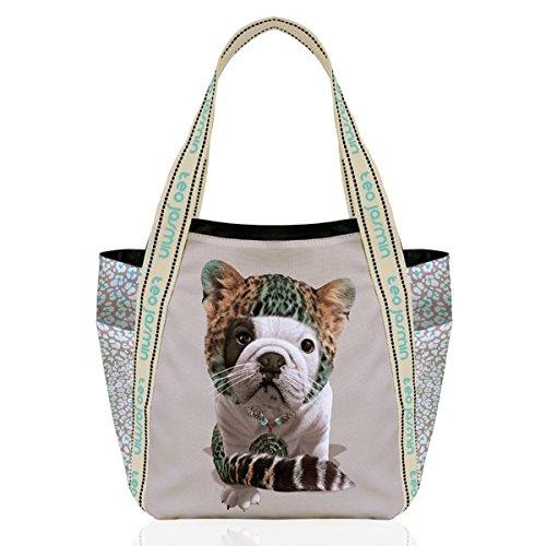 TEO JASMIN - Grand cabas bulldog teo jasmin leopard beige