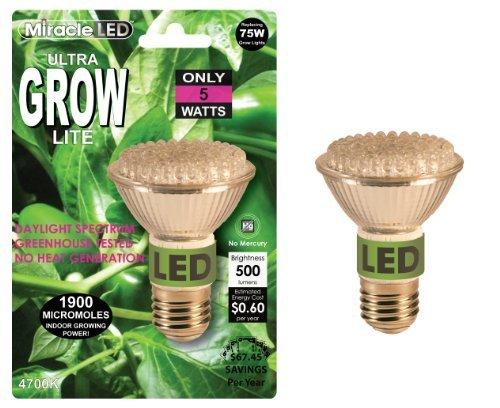 Miracle Led 605038 9.5-Watt (75-Watt) Commercial Hydroponic Ultra Grow Lite Bulb, 990 Lumens, Br30 Full Spectrum Plant Growing Light Bulb Color: 5000K Ultra Daylight Style: 5-Watt Outdoor/Garden/Yard Maintenance (Patio & Lawn Upkeep)
